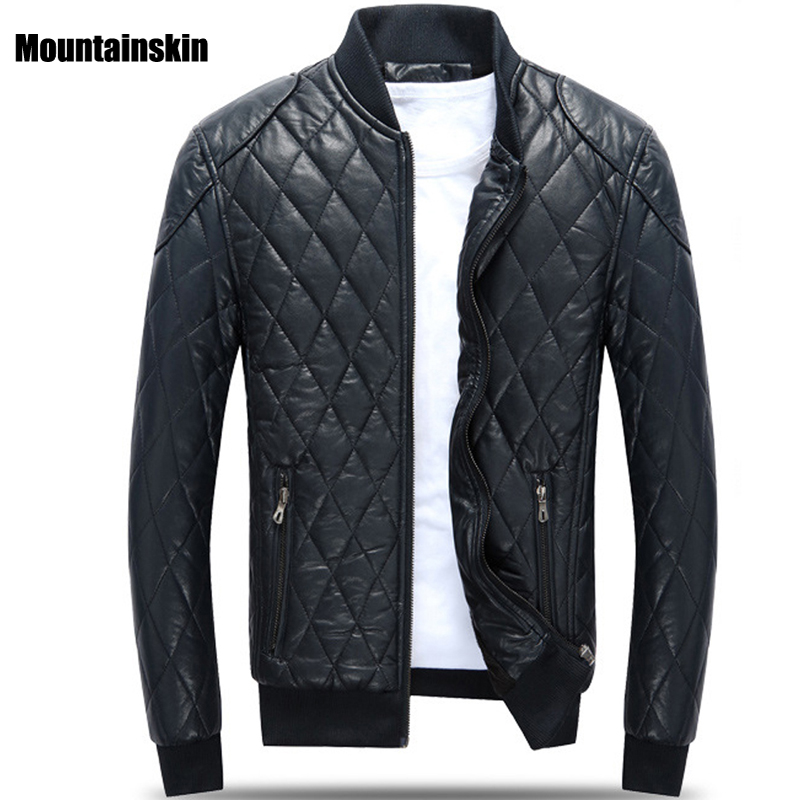 Winter New Men's PU Leather Jacket Stand Collar Thick Warm Clothing Slim Fits Male Parkas Fashion Motorcycle Leather Coats SA134