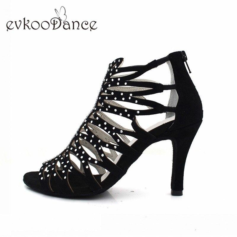 Evkoodance Black Nubuck High Quality Hot Rhinostone 8.5cm Heel Height Open Toe Latin Dance Shoes For Girls Evkoo-506 цена