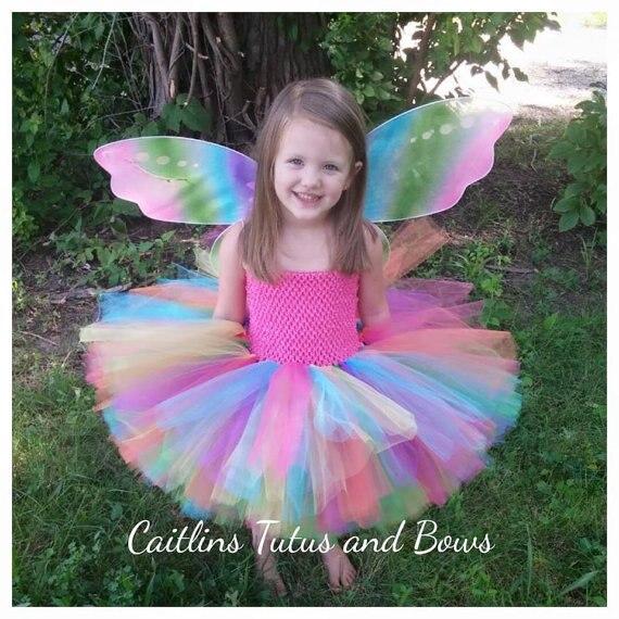 Color del arco iris niñas Crochet Tutu Vestido 2 capas Tulle mullido ...