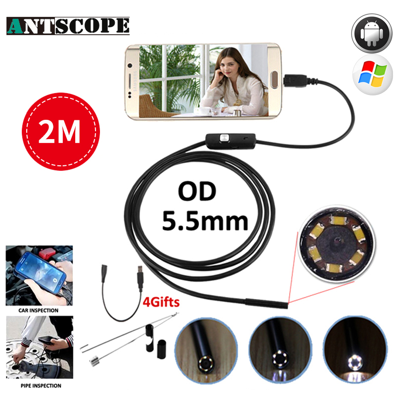 Antscope Micro USB Endoscope Camera 5.5mm Lens Adjustable 6LED Waterproof OTG USB Endoscope 2M USB Android Phone Borescope 1m 2m micro usb endoscope camera 7mm lens otg android endoscope 720p waterproof snake cameras android phone 6 led