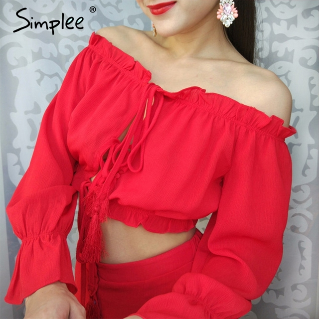 Simplee Long sleeve chiffon blouse shirt women tops Boho off shoulder  crop top red Summer beach blouse chemise tube blusa