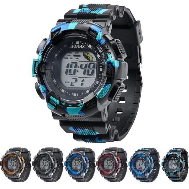 HONHX Fashion men's watch LED Digital Watch Alarm Date Rubber Waterproof Army Sp