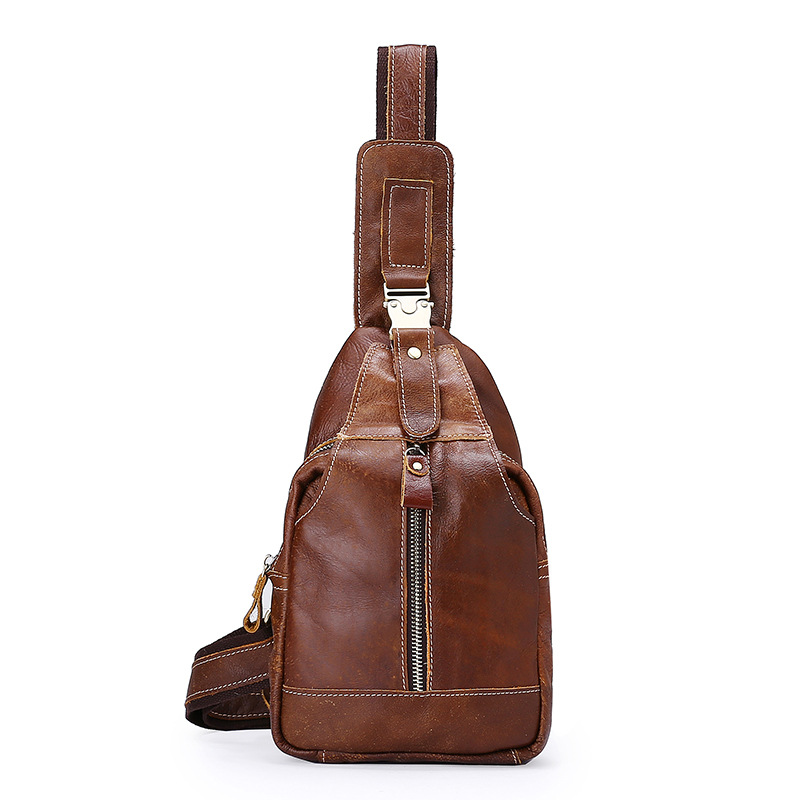 Vintage Casual Fashion Chest Pack For Men Cowhide Small Sling Shoulder Bags Designer Retro Genuine Leather Bag Luxury handbags