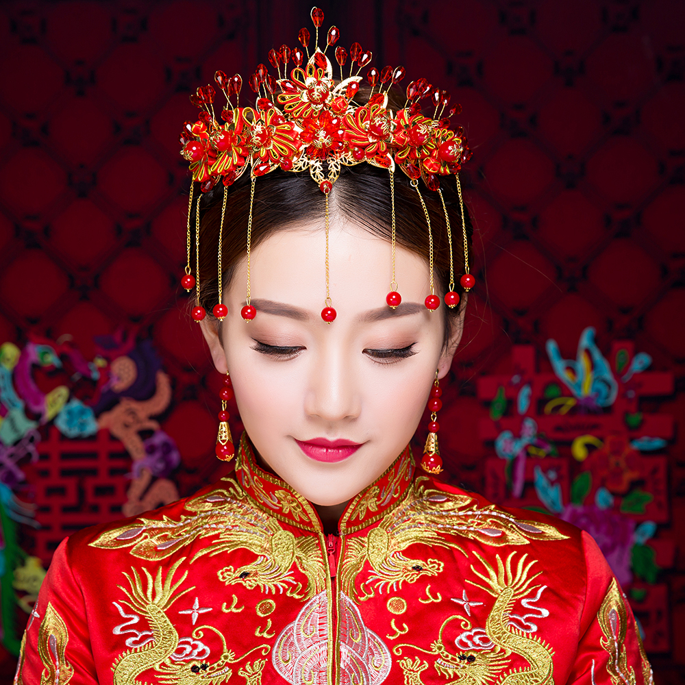 New Chinese Classical Wedding Hair Jewelry Bridal Headdress Red Beads Tassel Hair Accessories Gold Color Headband Tiara Earrings red tassel 011 gold bride wedding hair tiaras ancient chinese empress hair piece