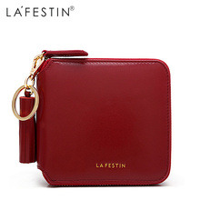 LA FESTIN High Quality 100% Genuine Leather Women Mini Wallet Leather Coin Purse Coin Credit Card Holder Zipper Women's Wallet zoress women genuine leather coin purse with key ring candy color lady s triple zipper mini credit card holder wallet