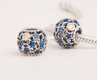 New midnight blue enamel christmas star charms 925 sterling silver & gold xmas charm fits european style diy charm bracelets