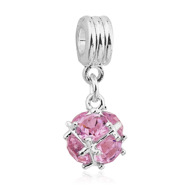 Free Shipping 1PC Big Hole Pink Crystal Hanging Pendant European Beads fits Pandora Charm Chain Bracelet Jewellery Accessories