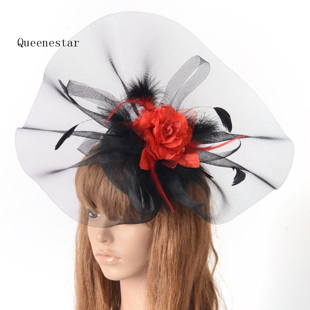 NEw Wedding Hat Headwear For Women Pillbox Fascinator Hair Clip Black Red  Fower Mesh Cocktail Party Derby Hat Feather Headwear 0006af895a5
