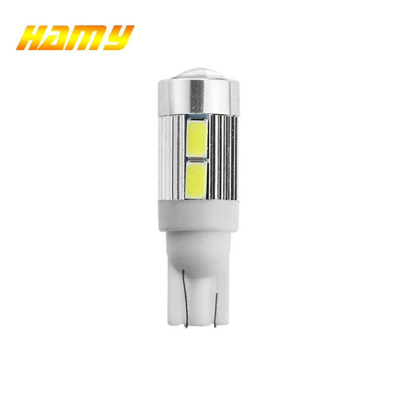 1x T10 W5W LED Bulb For Cars Interior Light 12V 5630 10SMD White License Plate Wedge Side 5W5 LED Signal Lamp 192 168 Yellow