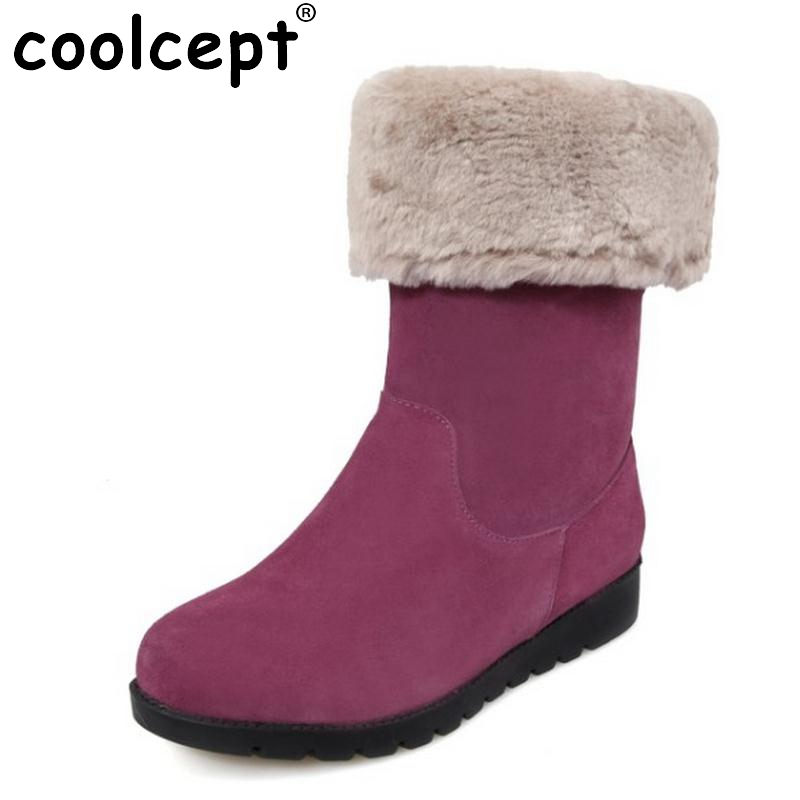 Genuine Real Leather Plush Thickend Fur Winter Women Boots Half Flats Snow Boots Fashion Women Shoes Sapato Feminino Size 34-39