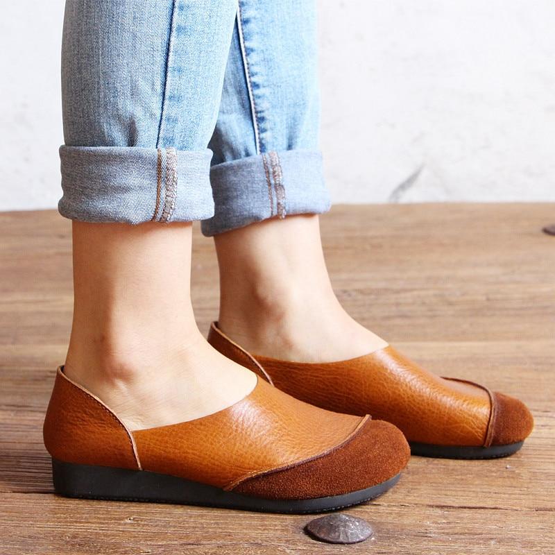 2017 Cuero Genuino Mujeres de Los Planos Zapatos Casuales de La Moda de Primaver