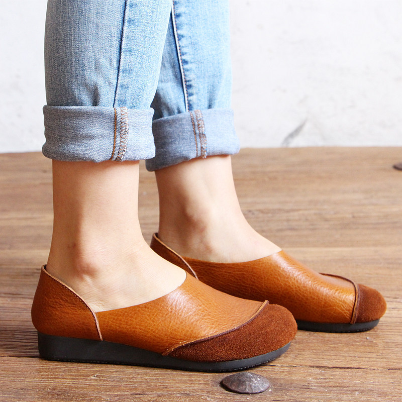 2017 Genuine Leather Women Flats Shoes Fashion Casual Slip On Soft Loafers Spring Moccasins Female Driving Shoes Handmade Plus handmade genuine leather men s flats casual haap sun brand men loafers comfortable soft driving shoes slip on leather moccasins