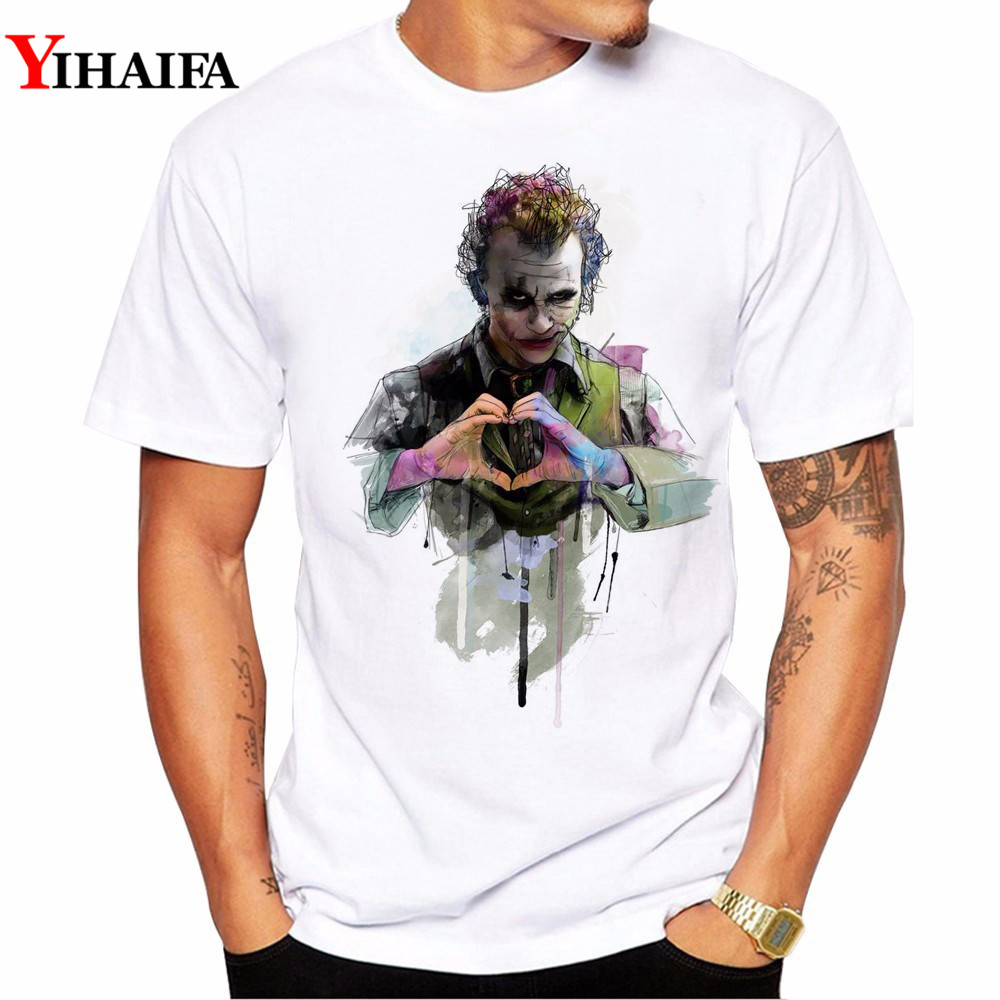 Men T-Shirt Gym Joker Print Hipster Summer Short Sleeve Slim Fit Clown Printed Tee Shirts White Tops