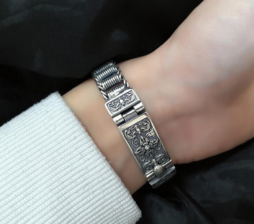 Тайский серебряный браслет властная танки цепь 925 серебро старинные цепи и ссылку замок браслеты
