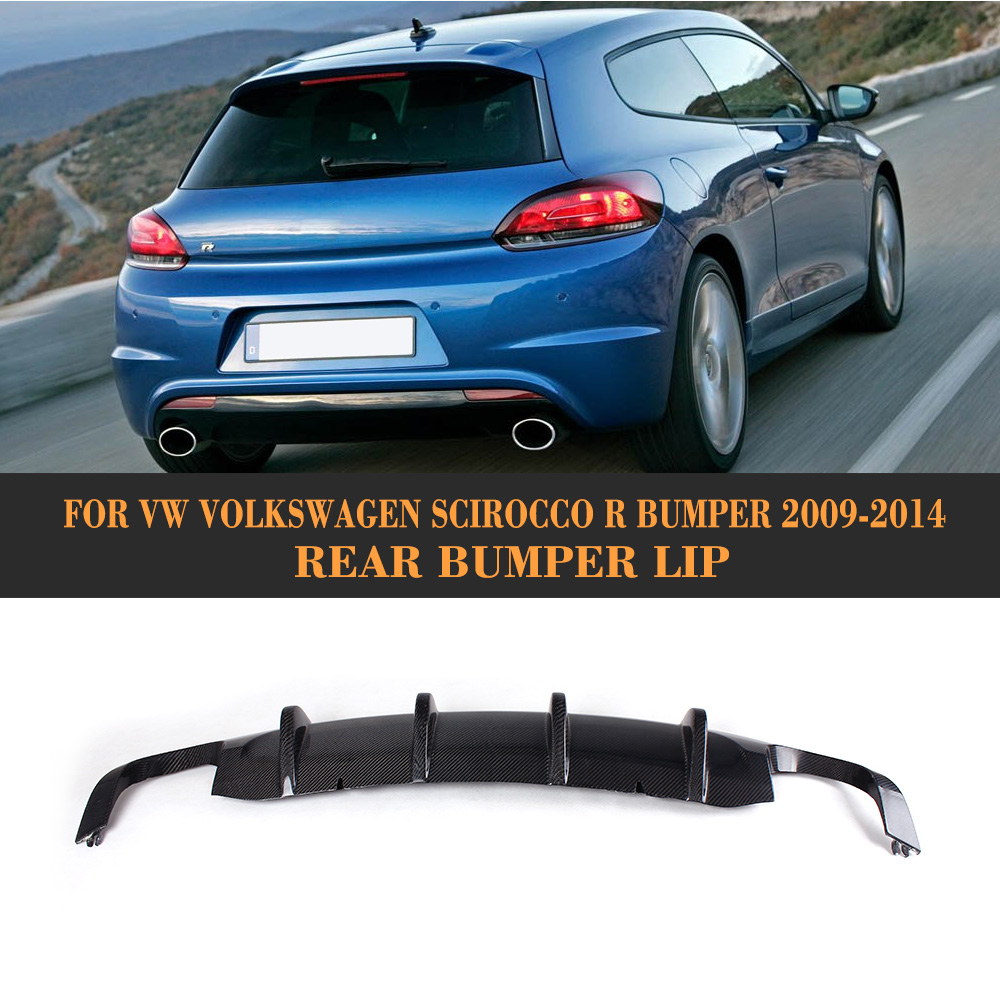 carbon fiber car cover bumper rear lip diffuser for vw scirocco R bumper 2009 - 2014 Car Styling