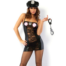 Cops Cosplay vinyl mesh dress Women Police Role Play Hot Sexy Cops Costumes Women Sexy Lingerie Halloween Costumes W202310