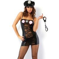 Cops Cosplay Vinyl Mesh Dress Women Police Role Play Hot Sexy Cops Costumes Women Sexy Lingerie