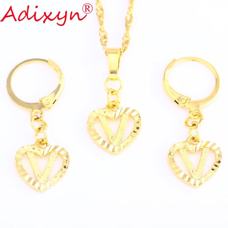 Adixyn Pendant Necklace Jewelry-Set Earrings Heart-Shape Women Ladies for Item N11215