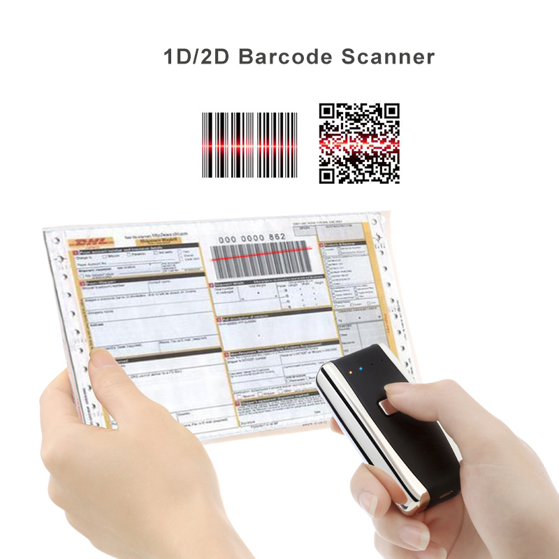 Mini Bar Code Scanner Bluetooth 1D 2D Wireless Mobile Barcode Reader For Ipad IPhone Android Tablet PC Portable Hand Scanner laser weirless scanner wearable ring bar code scanner mini bluetooth scanner barcode reader 1d reader scan for phone pc tablet