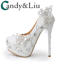 Wedding Pumps Ladies Super High Heels White Color Butterfly Crystal Tassel Round Closed Toe Bridesmaid Bright Pu Leather Shoes