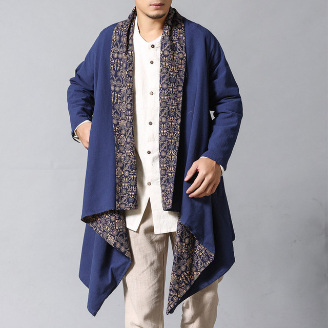 2 side wear men cotton linen trench coat male china style casual comfortable cardigan trench jacket high qualtiy outerwear