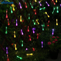 Premium Quality 4.8M 20LEDs LED Solar Christmas Waterproof Lights 8 modes waterdrop Solar Fairy String Lights for Outdoor *10pcs