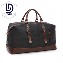 LUODUN Canvas Leather Men Travel Bags Carry on Luggage
