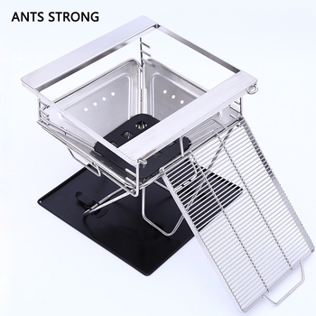 ANTS STRONG desktop split type barbecue stoveOutdoor portable BBQ net charcoal furnace 1-2 people height adjustable churrasqueira para fogão