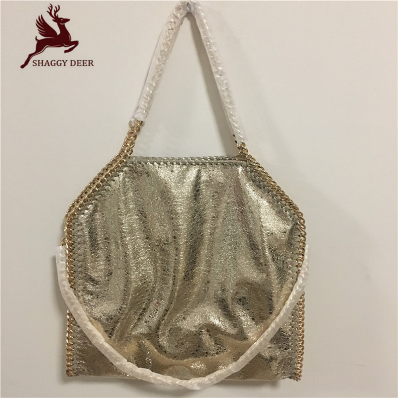 Golden Crack PVC Luxury 3 Chain Shaggy Deer Handbag Fold-Over Ladies Bolsa Fala Chain bag malina by андерсен цепочка
