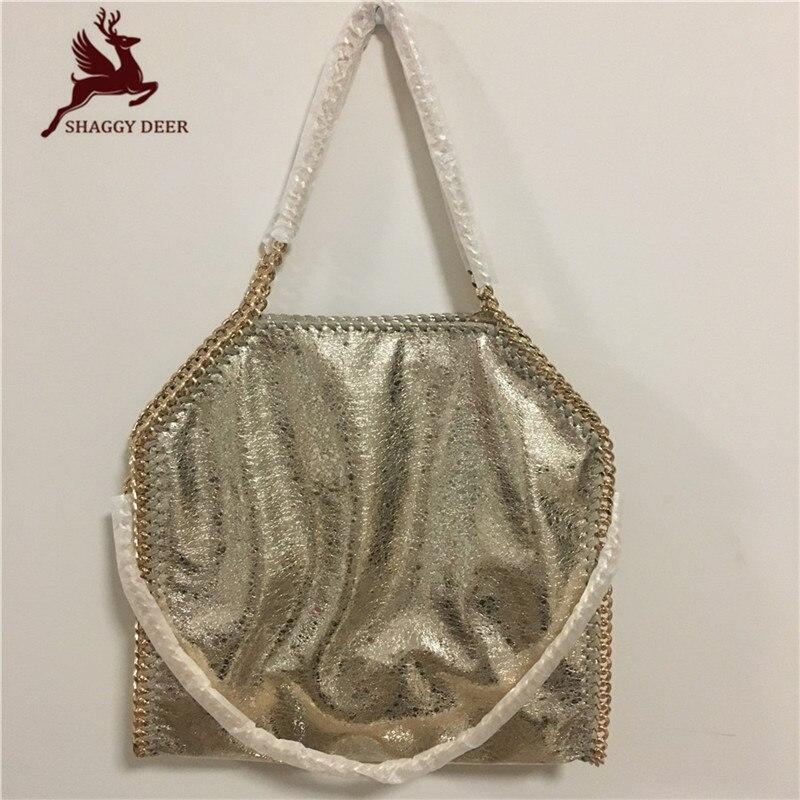 Golden Crack PVC Luxury 3 Chain Shaggy Deer Handbag Fold-Over Ladies Stella Chain bag mini gray shaggy deer pvc quilted chain bag with cover real picture