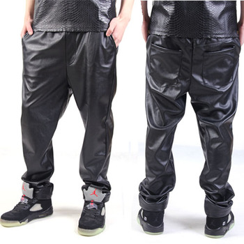 Hot Sale Men's Brand Street Hiphop All-match Trousers Motorcycle Leather Pants Hiphop Black Pu Pants Men Trousers Ferr Shipping