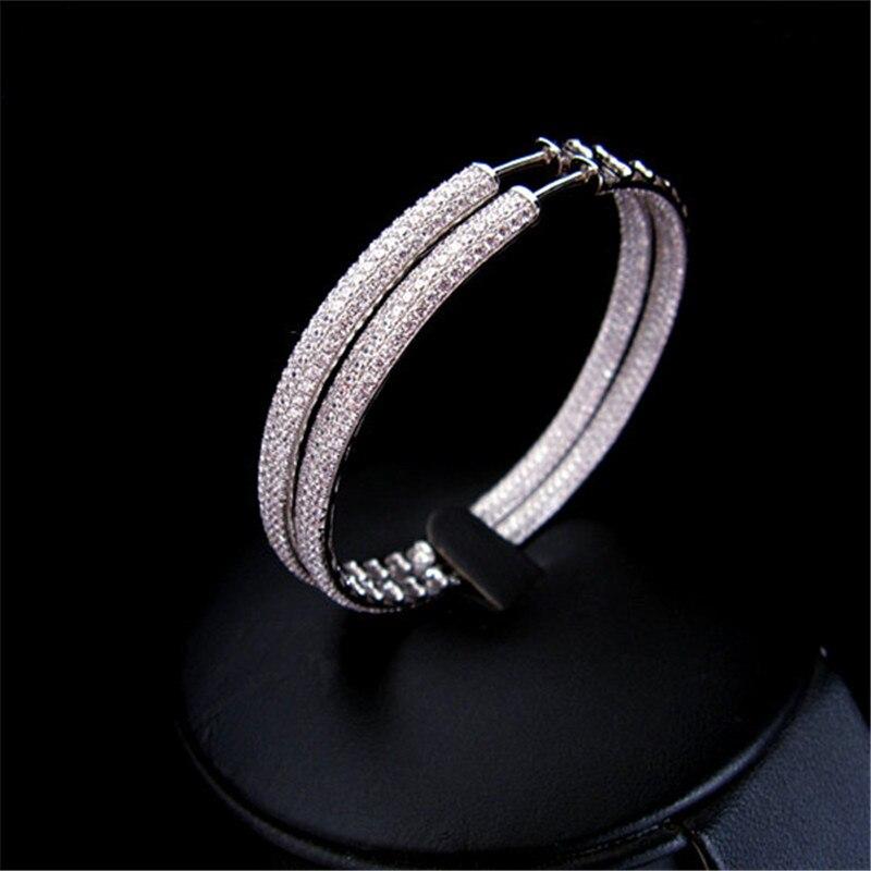 Hot sale Fashion Luxury AAA cubic zirconia micro pave setting big 6cm diameter hoop earrings women's accessories,E61023C