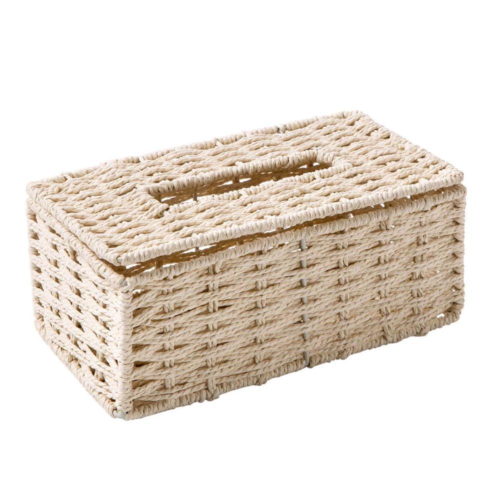 Винтажный держатель для салфеток из ротанга OTHERHOUSE, чехол для салфеток, держатель для салфеток, контейнер для хранения, покрытие для гостиной, украшение стола - Цвет: Светло-желтый