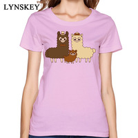 White Funny Cartoon Animal Women T Shirts Classic Lovely Chocolate Alpaca Family Printing Tops Tees Cheapest