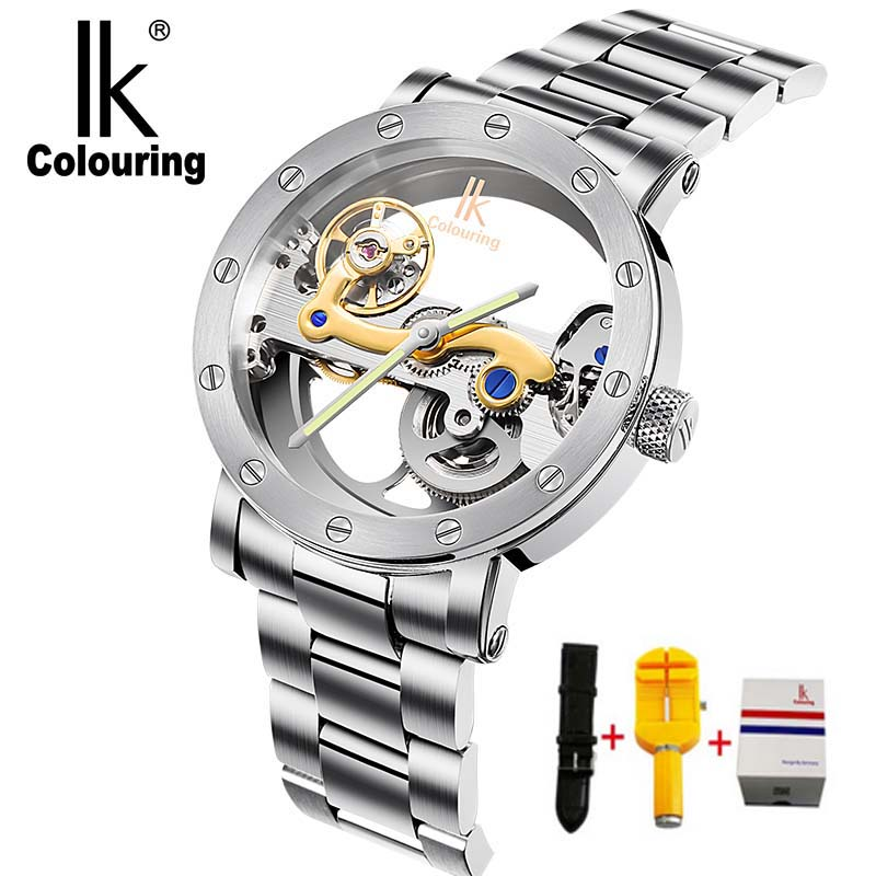 IK colouring Hollow Skeleton Mechanical Watches Men Luxury Brand 5ATM Waterproof Stainless Steel Wristwatch Relogio Masculino ik colouring new design retro hollow golden auto self windmechanical luxury watch men skeleton wristwatch original box for gift