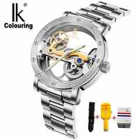 IK colouring Hollow Skeleton Mechanical Watches Men Luxury Brand 5ATM Waterproof Stainless Steel Wristwatch Relogio Masculino