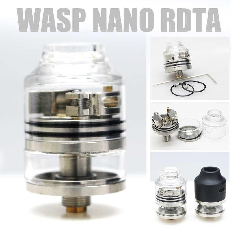 High quality 10pcs WASP NANO RDTA Tank 2ml 22mm Diameter Atomizer Easy Building Deck & Adjustable Airflow System for E-cig mod