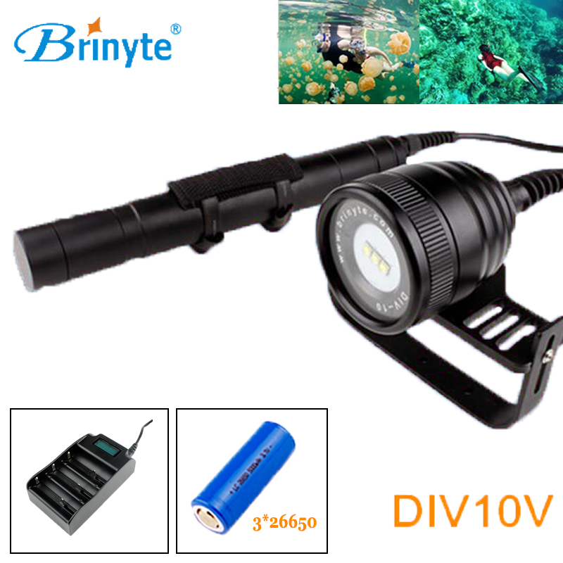 Brinyte DIV10V Underwater Video Light Canister dive Flashlight 3*CREE XM-L2 LED Scuba Diving Flashlight with 26650 Battery