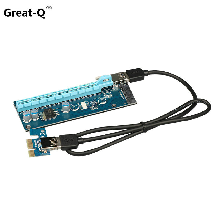 Great-Q 10pcs PCIe PCI-E PCI Express Riser Card 1x to 16x USB 3.0 Data Cable SATA to 4pin IDE Molex Power Supply 60cm new fashion men party and wedding handmade loafers men velvet shoes with tiger and gold buckle men dress shoe men s flats