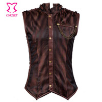 Brown Striped Stand Collar Sleeveless Vintage Waistcoat Vest Men Jacket Steampunk Clothing 6XL Plus Size Mens Gothic Jackets