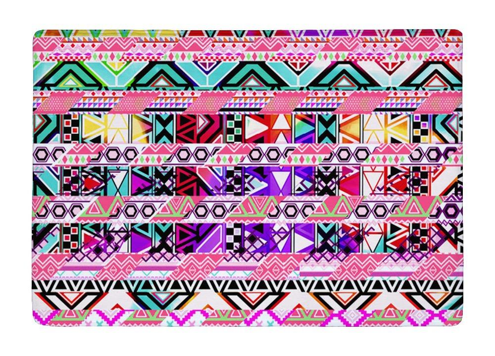 Floor Mat Pink Abstract geometric Bright Andes Wave Pattern Print Non slip Rugs Carpets For font