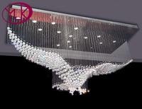Бесплатная доставка Орел Дизайн Современная хрустальная люстра для гостиная L100 * W50 H80cm зал лобби люстры де Cristal лампы