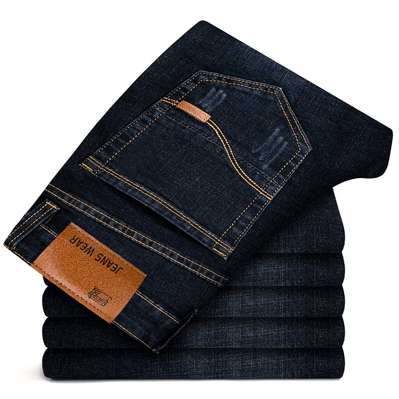 2019 Autumn Spring Mid Weight Men Casual Biker Denim Jeans Stretch Denim Pants Solid Slim Fit Jeans Male Street Skinny Pant