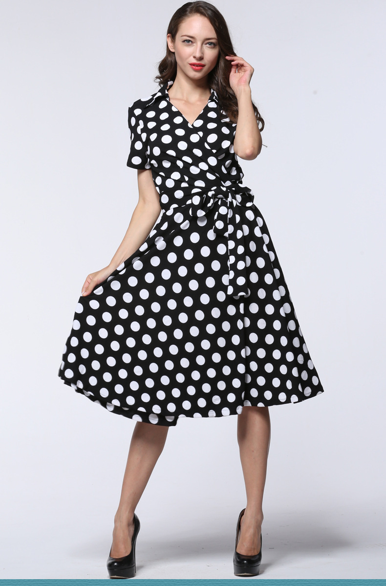 Vintage 50s 60s Style Plus Size Women Big Swing Belted Casual Dress