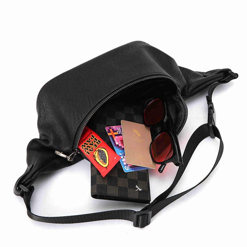 Yeni Katı erkek Bel Çantası Moda Trendi PU Göğüs Çanta Erkek Kullanışlı fanny paketi Siyah Seyahat Adam Su Geçirmez Crossbody omuz çantaları