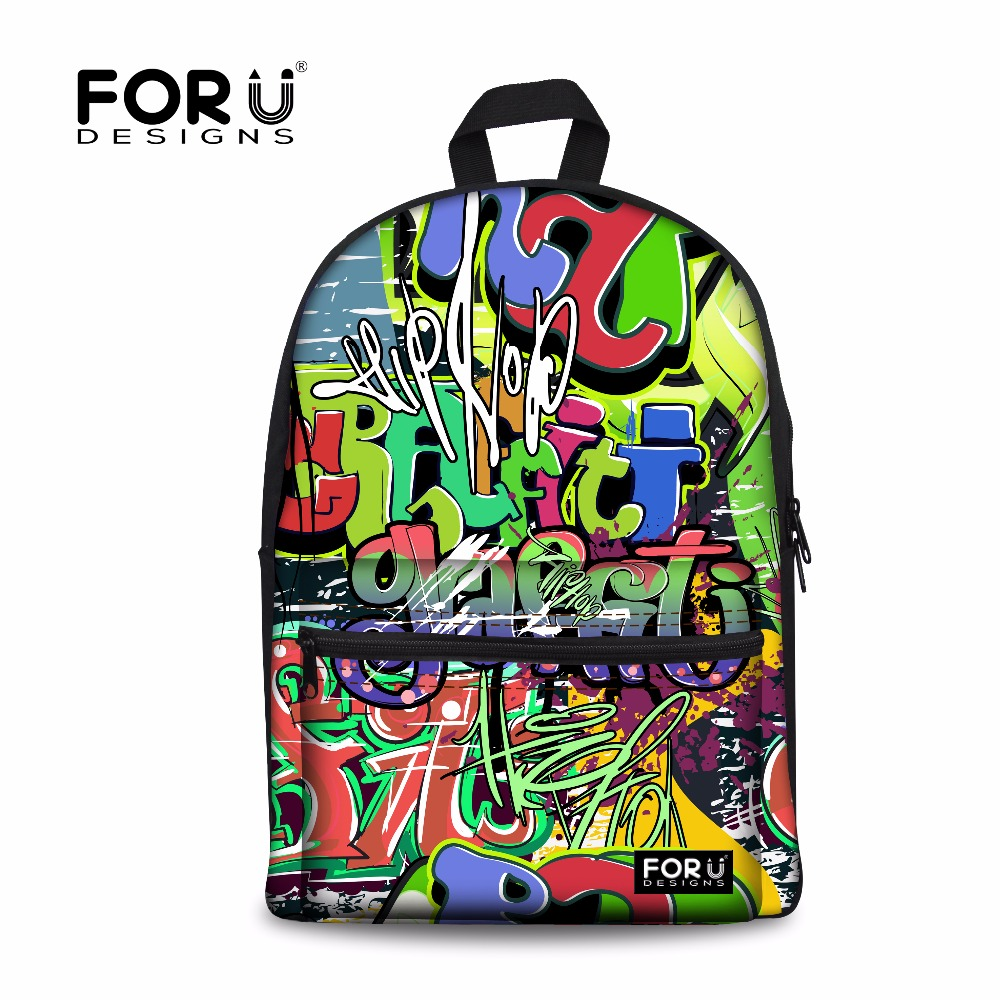 цены FORUDESIGNS Men 's Canvas Backpack 3D Graffiti Casual Shoulder Bags For Boys Travel Rucksack Feminine School Backpacks Rucksack