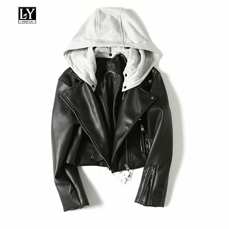Ly Varey Lin Hooded Faux Soft   Leather   Women Short Pu Jacket Motorcycle Zipper Hat Detachable Female Coat Punk Black Outerwear
