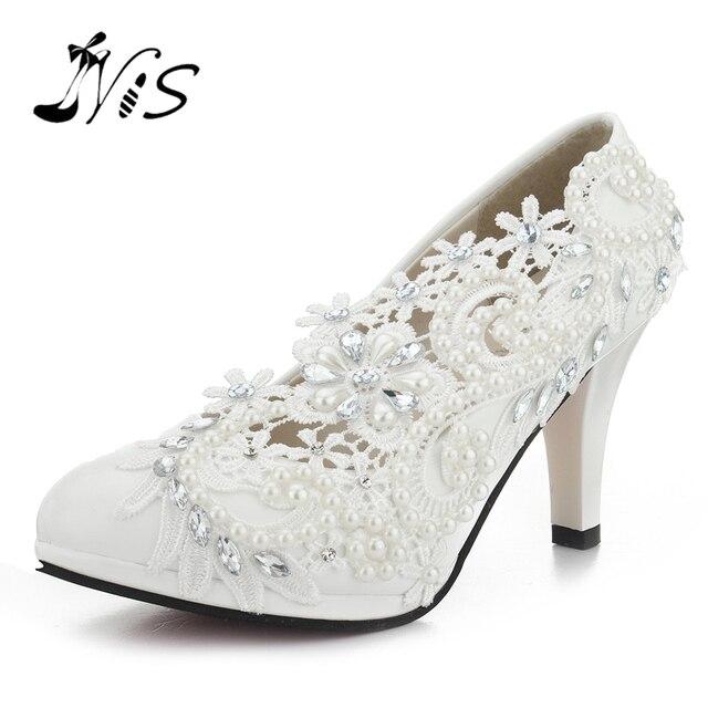 Pumps Handmade Lace Pearl Wedding Shoes Rhinestones White Bridal Shoes Bridesmaid Banquet Dress Women 8cm High Heel Pumps