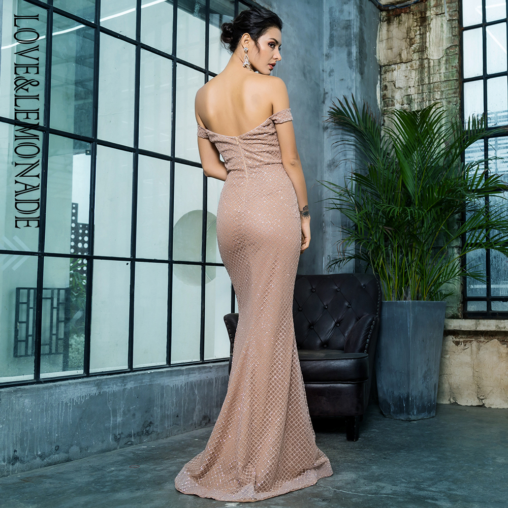 Love Lemonade Sexy Off the Shouleder Open Back Glue Bead Material Long Dress  LM81343 2ROSEGOLD-in Dresses from Women s Clothing on Aliexpress.com  b07748e0d792