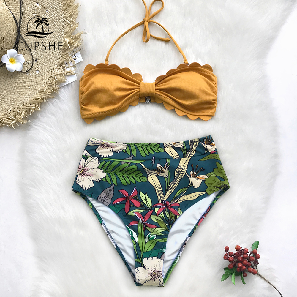 CUPSHE Yellow And Floral Tropical Print High-Waisted Bikini Sets 2020 Women Heart Neck Halter Two Pieces Swimsuits